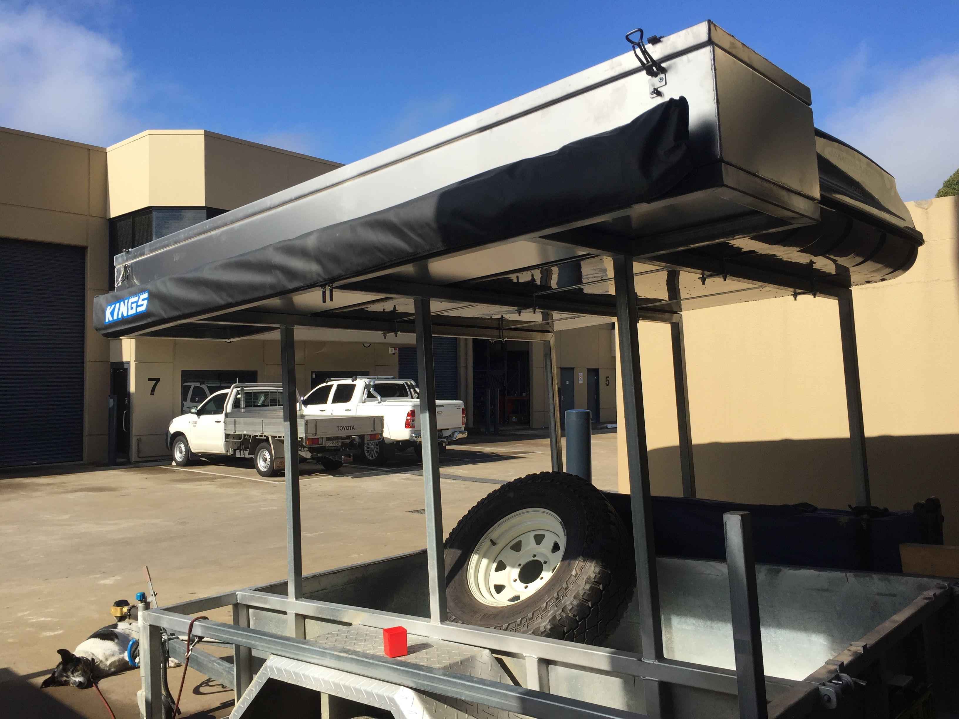 Storage Box And Side Awning Installed Tags Expedition Camper Trailer Home Made Diy Atv Quad Bike Campin Expedition Trailer Trailer Plans Camp Kitchen