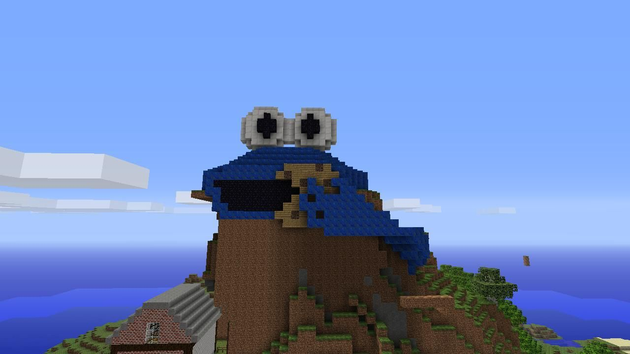 3d Cookie Monster Pixel Art Created In Minecraft For Xbl