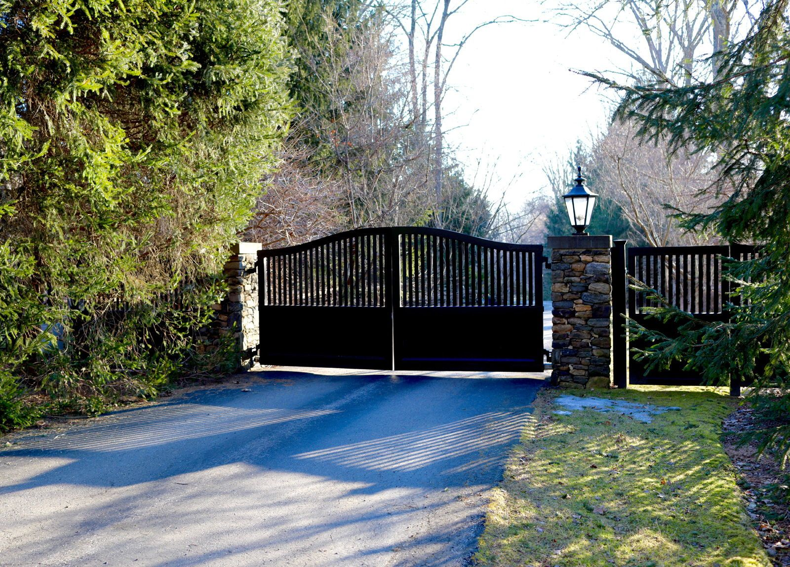 Really Nice Black Wooden Driveway Gate With Matching Pedestrian Entry Installed By Tri State Gate Bedford Driveway Gate Wooden Gates Driveway Outdoor Paints