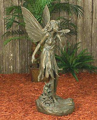 Delightful Large Fairy Statue Bronze Finish, Bronze Fairy Bird Feeder Statue, Bird  Feeder Fairy Statues