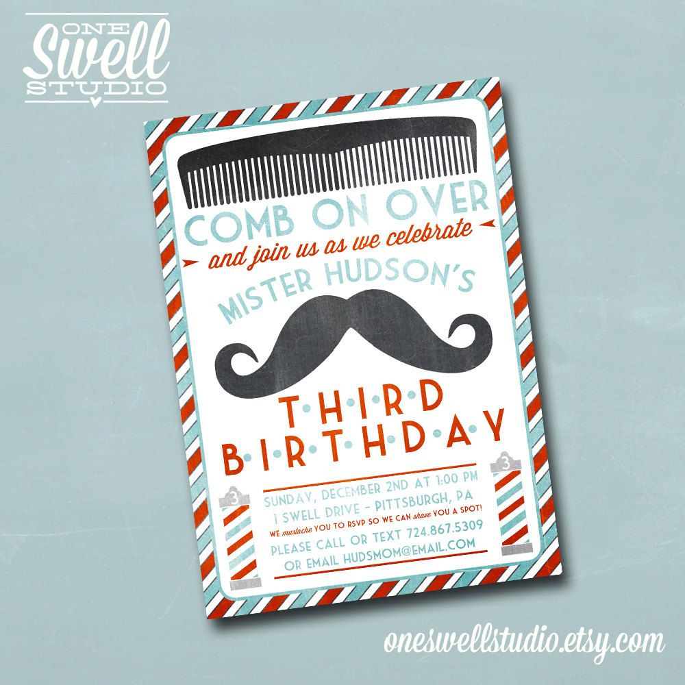 Vintage Barber Shop Mustache DIY Printable Birthday Party or Baby ...