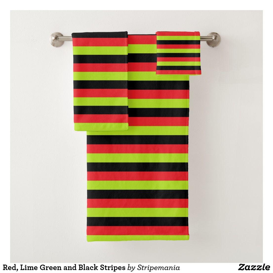 Red Lime Green And Black Stripes Bath Towel Set Zazzle Com