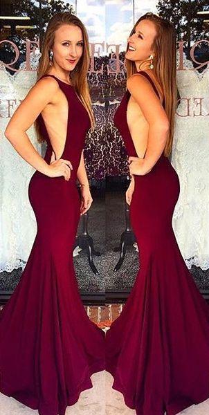Long Burgundy Mermaid Sleeveless Backless Pleats Prom Dresses 2019 Open Back Backless Mermaid Prom Dresses Gorgeous Prom Dresses Satin Prom Dress
