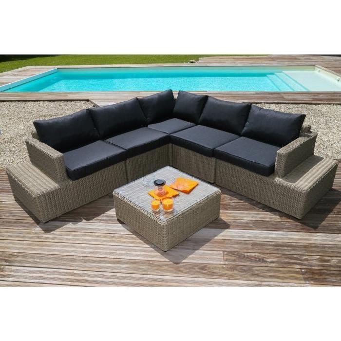 MIAMI Salon de jardin 5 places en résine tressée et aluminium - Marron