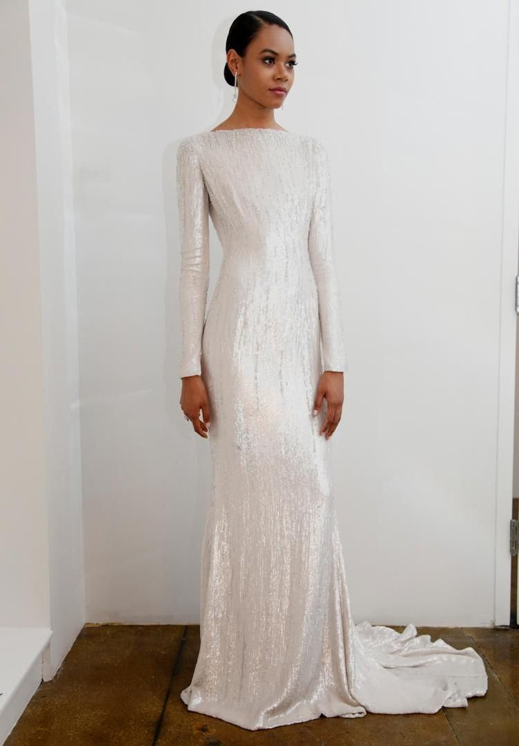 Love How This Drapes Wedding Dress Sequin Wedding Dresses Lace Sequins Wedding Gown