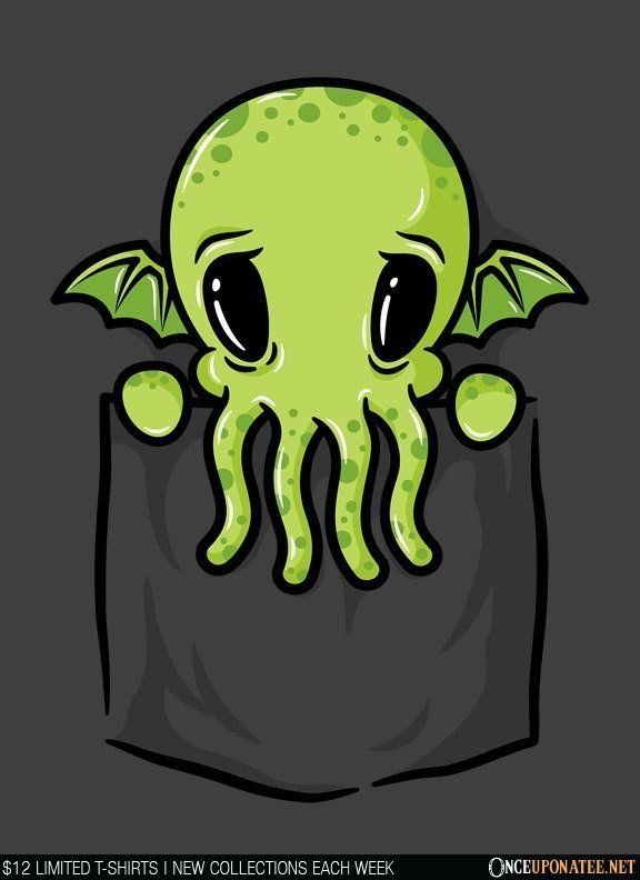 Pocket Cthulhu is available on t-shirts, hoodies, tank tops, and more until 7/11 at OnceUponaTee.net starting at $12! #Fashion #Apparel #Cthulu