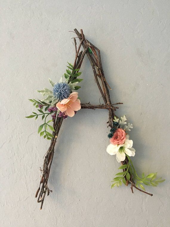 Woodland Nursery Letter, Twig Letter, Twig Monogram, Rustic Wall Letter, Rustic Letter, Baby Girl Nursery, Woodland Nursery, Fairy Decor #rustichomedecor