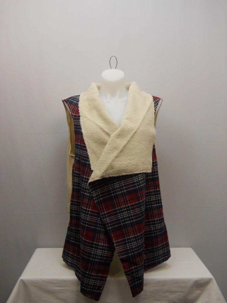 PLUS SIZE 4X Womens Shearling Wrap Vest CONCEPTS Plaid Wide Collar Sleeveless #CONCEPTS #Vest