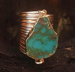 Sleeping Beauty Green Turquoise Wire Wrap Ring