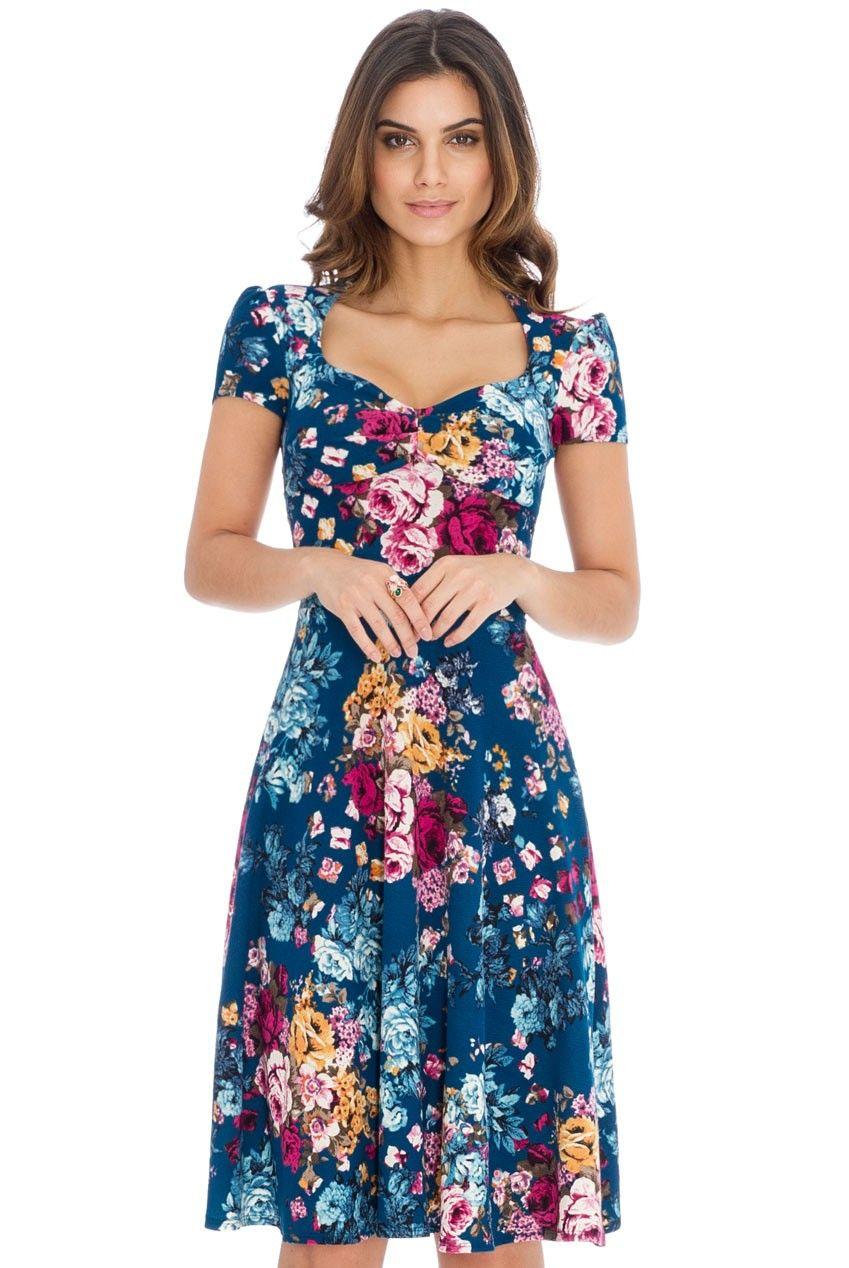 8e95a943fc82 Short Sleeved Full Skirt Floral Midi Dress | Summer! | Floral midi ...
