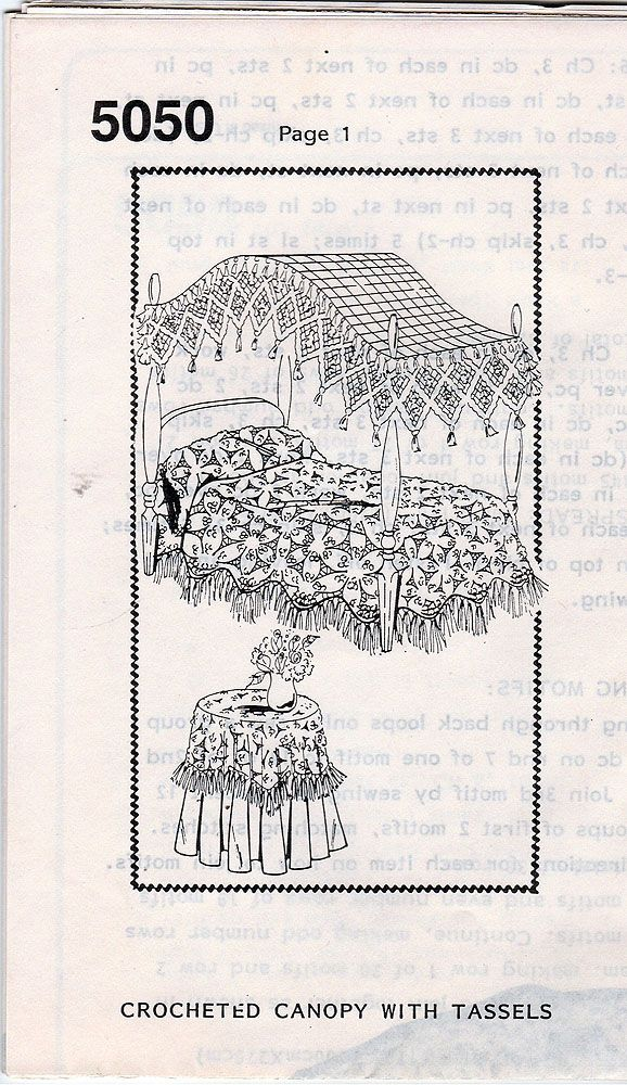 Rare Vintage 1930u0027s Pattern Crocheted Bedspread Bed Canopy and Tablecloth - New Vintage Studio  sc 1 st  Pinterest & Rare Vintage 1930u0027s Pattern Crocheted Bedspread Bed Canopy and ...