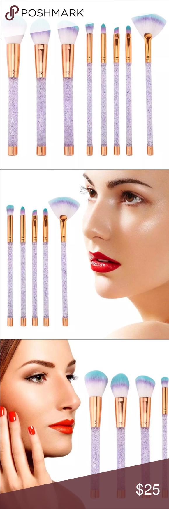 Pastel /purple glitter makeup brush set Purple glitter
