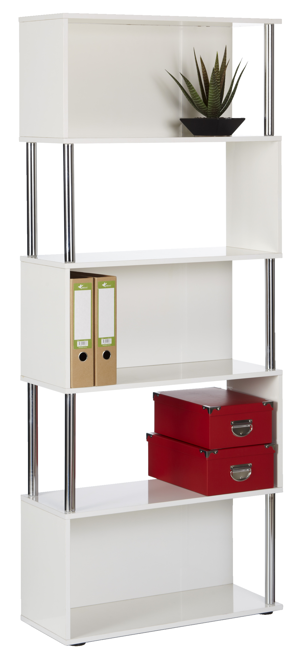 Hummingbird Hayes Chrome And Gloss Bookcase White