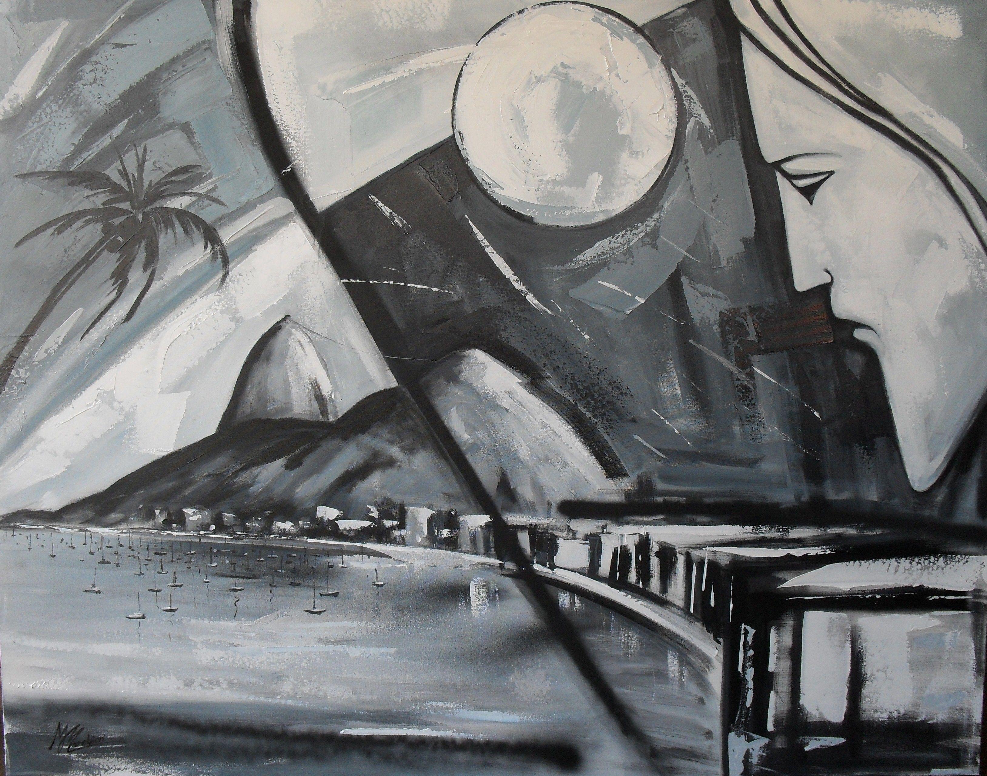 Obra: Rio ,Beleza e fé,acrílico sobre tela ,de Maria José Marchiori