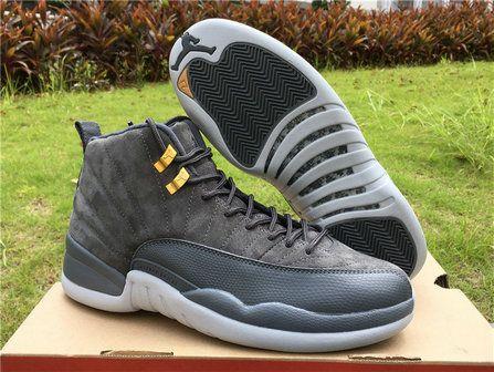 cool authentic cheap air jordan 12 dark grey wolf carbide grey basketball shoe for sale