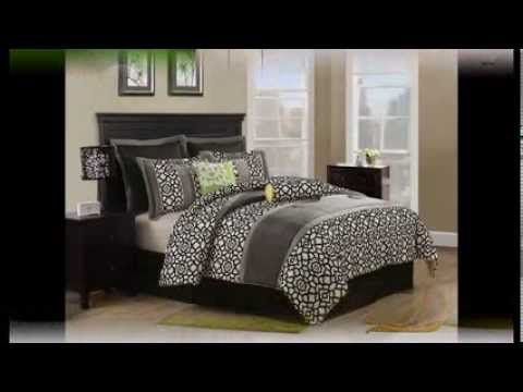 lime green bedroom decor | grey and white bedding, grey