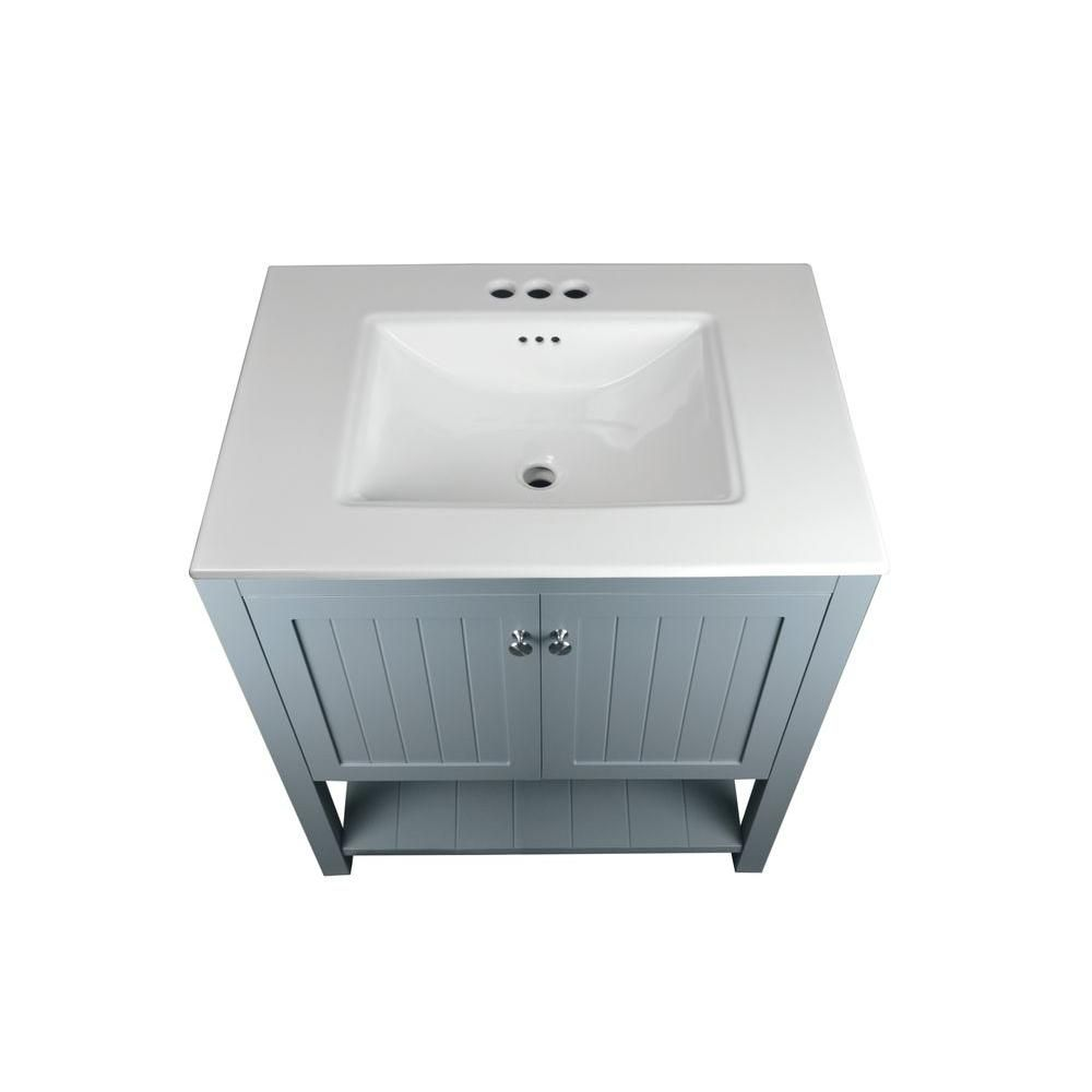 Home Decorators Collection Cranbury 30 In Vanity Cool Gray With Vitreous China Top White D10030 12w The Depot