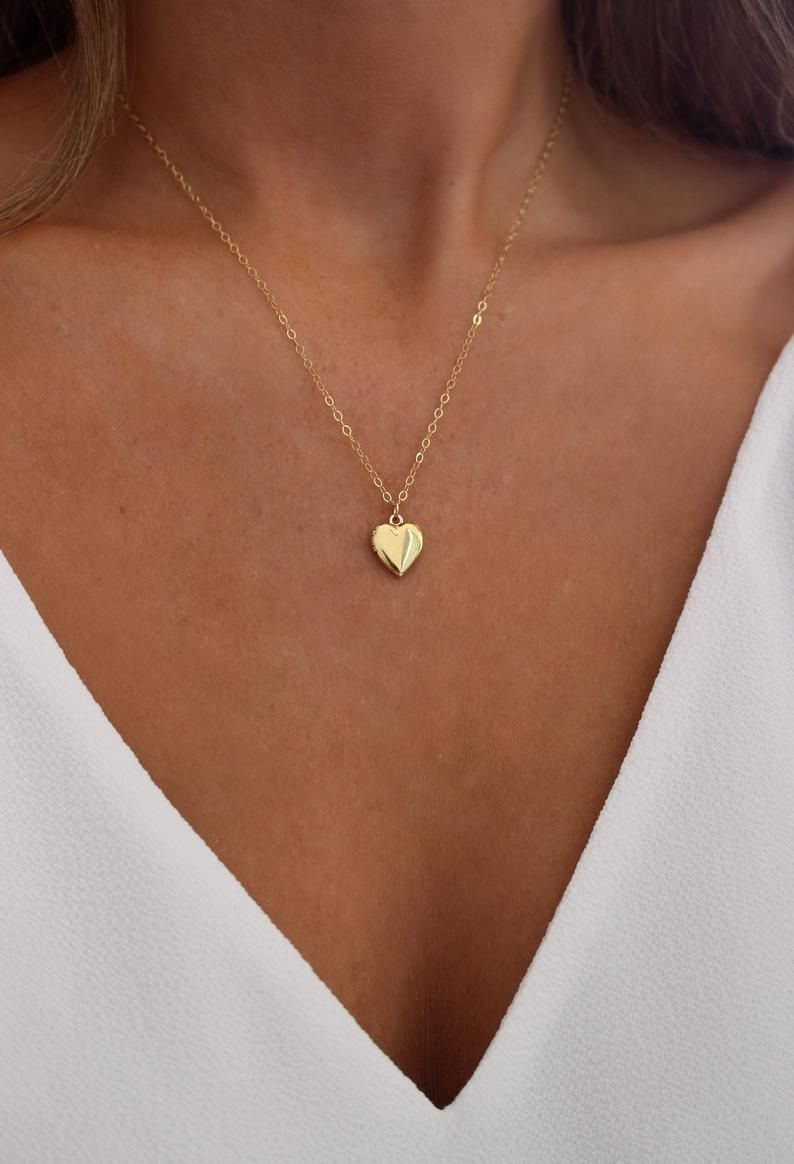 Gold Or Silver Heart Locket Necklace Small Locket 14k Gold Etsy Locket Necklace Small Gold Heart Locket Heart Locket Necklace