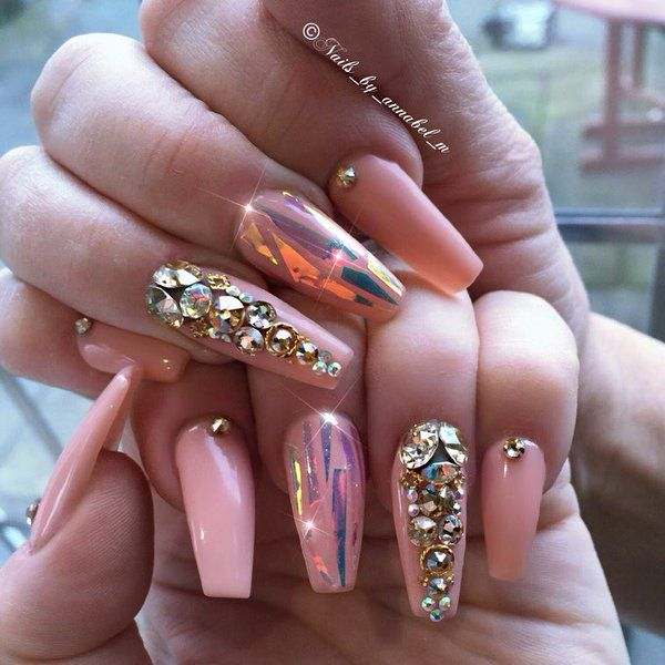 Nails By Annabel M Annabelellam Bling Nails Pink Bling Nails Coffin Nails Designs
