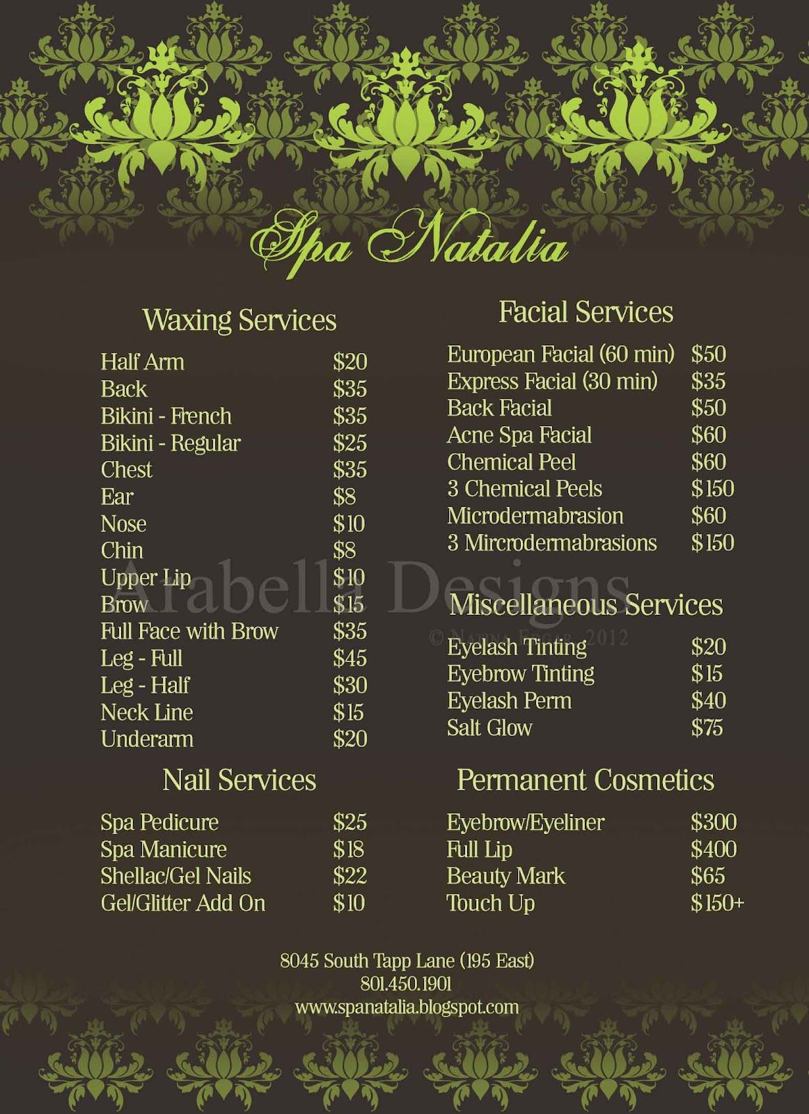 Image Result For Spa Menu Template Beauty Wellness Pinterest