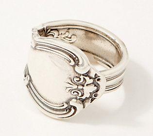 Inspired by silverware from the 19th century, this Silver Spoon ring features intricate details and an adjustable fit. From Silver Spoon Jewelry.