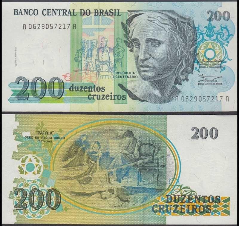 Brazil 200 Cruzado Novo 1990 229 Fotos De Dinheiro Notas