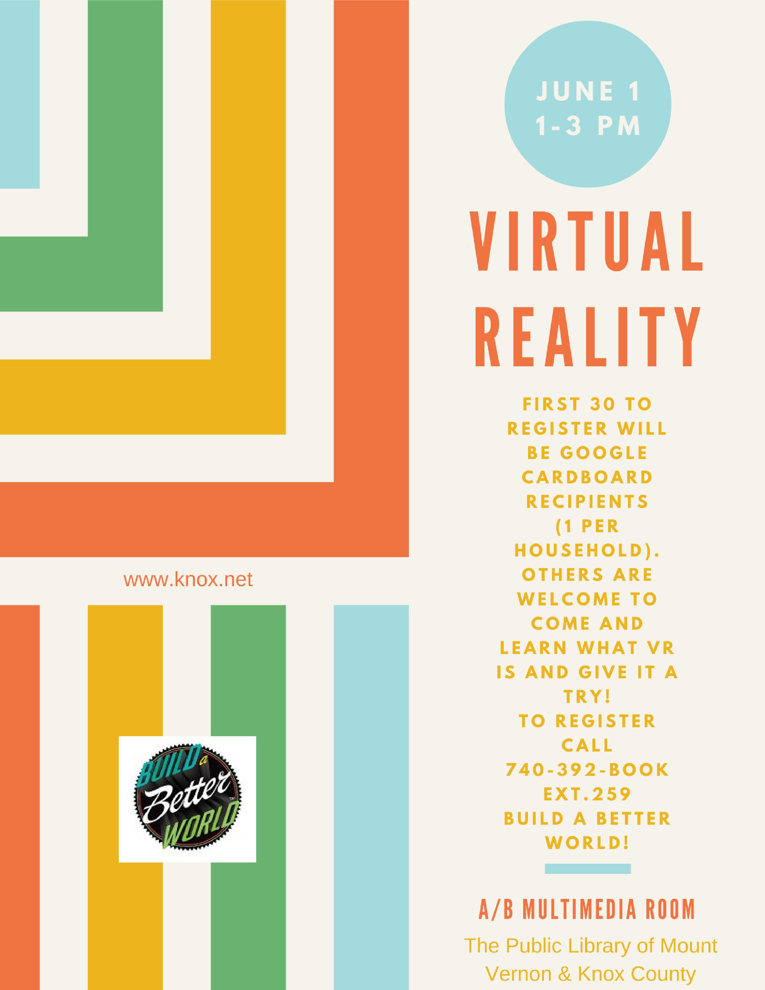 2017 Adult Summer Reading Program. Virtual Reality