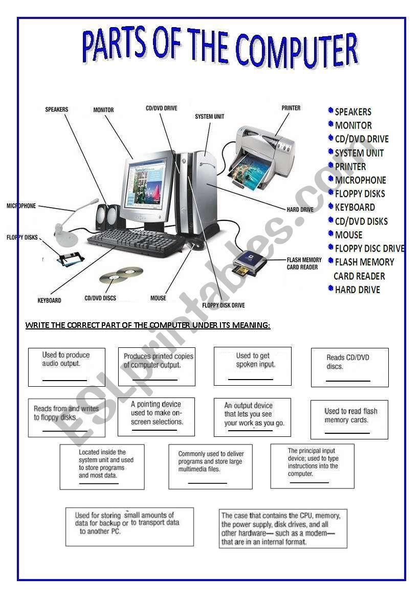 Computer Parts Labeling Worksheet : computer, parts, labeling, worksheet, PARTS, COMPUTER, STUENTDS, MATCH, DEFINITIONS, PART., Computer, Parts, Components,, Basics,, Memory, Readers
