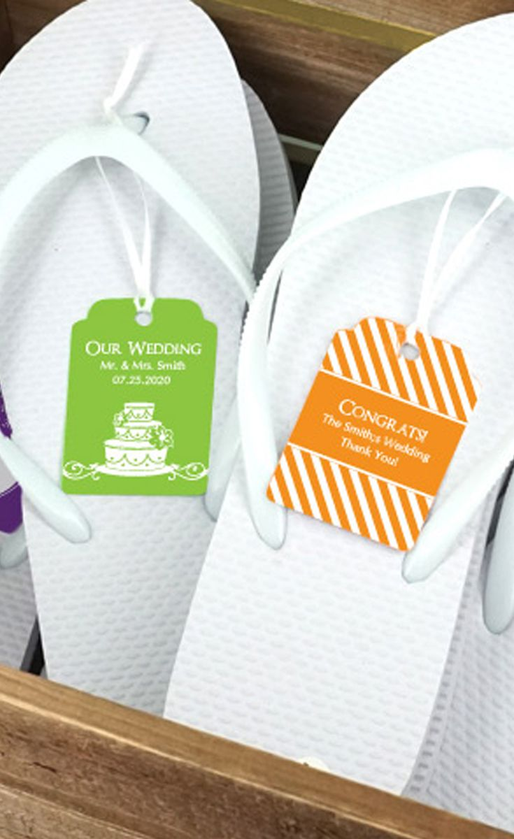 Wedding Flip Flops w/Personalized Tag (Black or White Available ...
