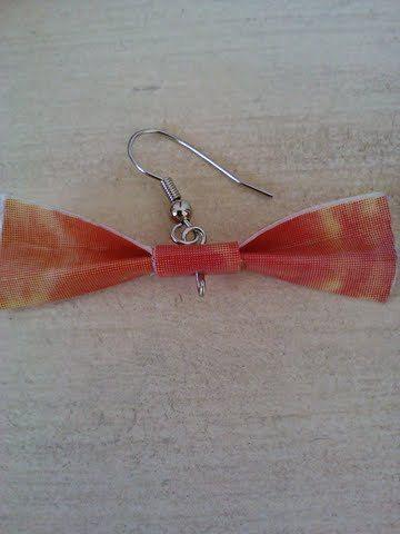 Pink and Orange tye dye duct atpe bow earrings by Bekasjewelry, $3.50