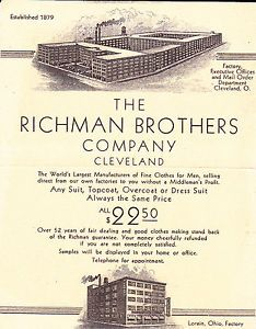 Vintage business card richman brothers cleveland ohio fine clothes vintage business card richman brothers cleveland ohio fine clothes for men colourmoves