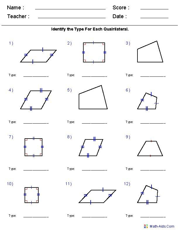 Geometry Worksheets | Quadrilaterals and Polygons Worksheets | Math ...