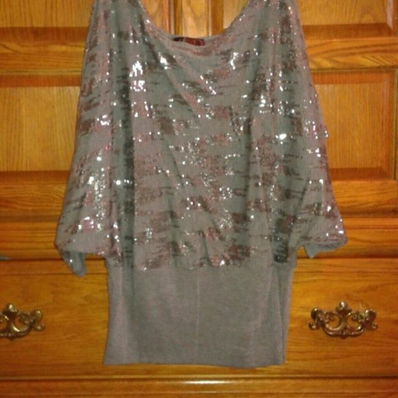 Party blouse Shiney party blouse. Gray colored, worn only twice. Lipstick  Tops Blouses