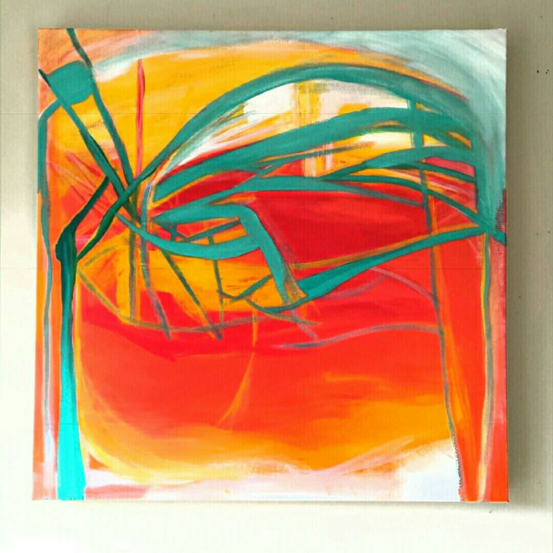 Original Abstract Canvas Painting With Bright Colors