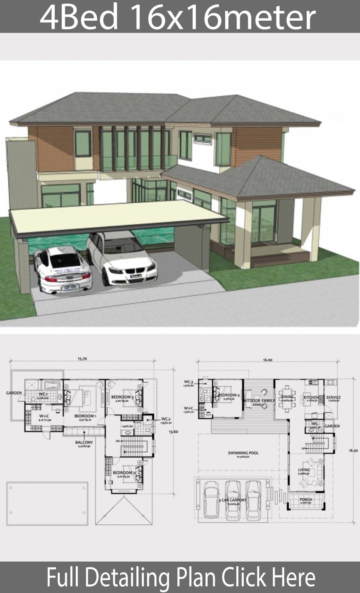 Home Design Plan 16x16m With 4 Bedrooms Home Design With Plansearch Town House Floor Plan Bungalow House Design Architectural House Plans
