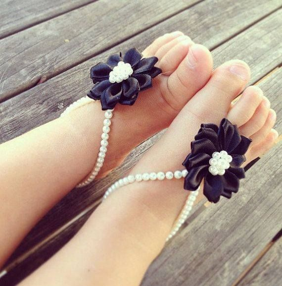Black flower sandals