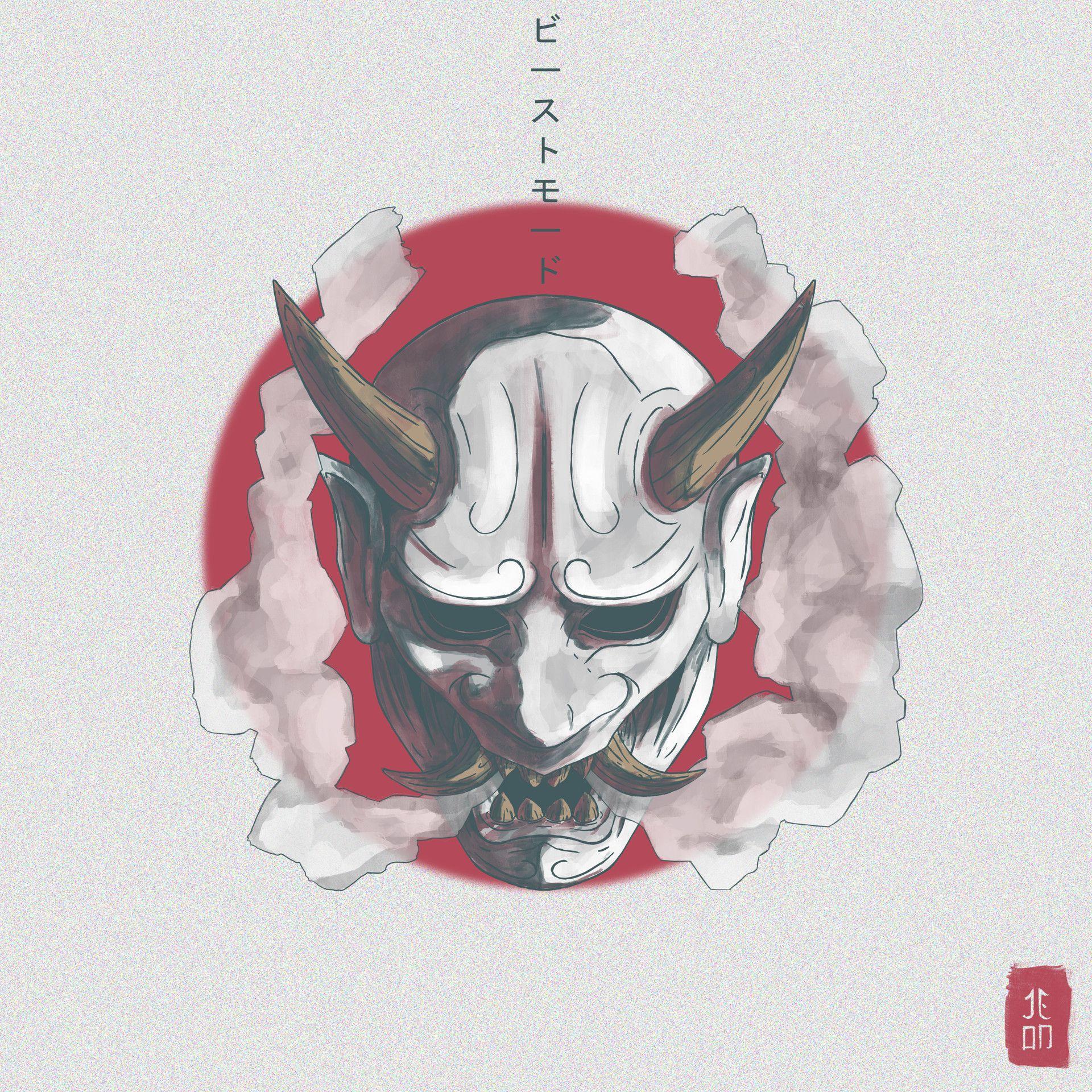 Artstation oni mask jean nascimento in 2020 japanese
