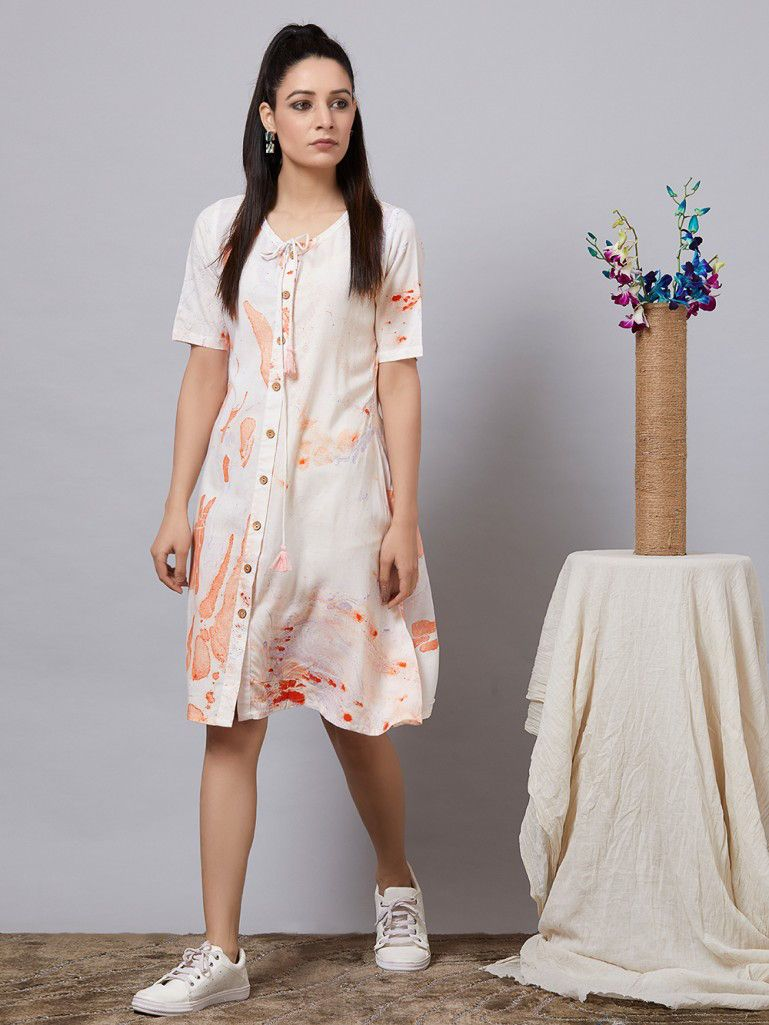 Buy White Hand Painted Rayon Shirt Dress Online At Theloom Dress Sewing Patterns Dresses Sewing Dresses [ 1025 x 769 Pixel ]