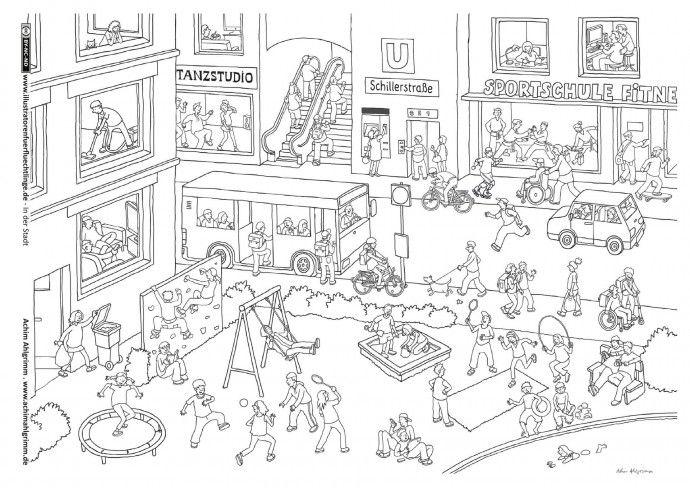 In Der Stadt Stadt Spielplatz Wimmelbild Ahlgrimm Wimmelbild Bilder Kinder Reime
