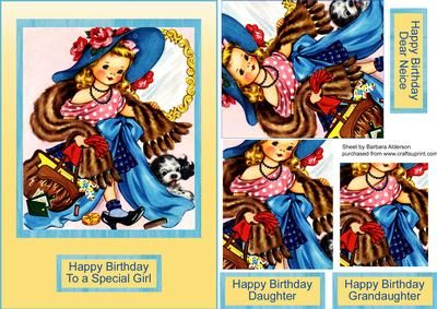 Dressing up on Craftsuprint designed by Barbara Alderson - pyramid topper on a card front with a choice of sentiments - Now available for download!