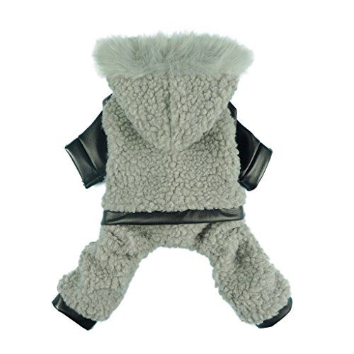 Fitwarm Fashion Pet Dog Hooded Coats Jacket Jumpsuit Soft Fleece Winter Clothes Grey Medium -- Be sure to check out this awesome product.