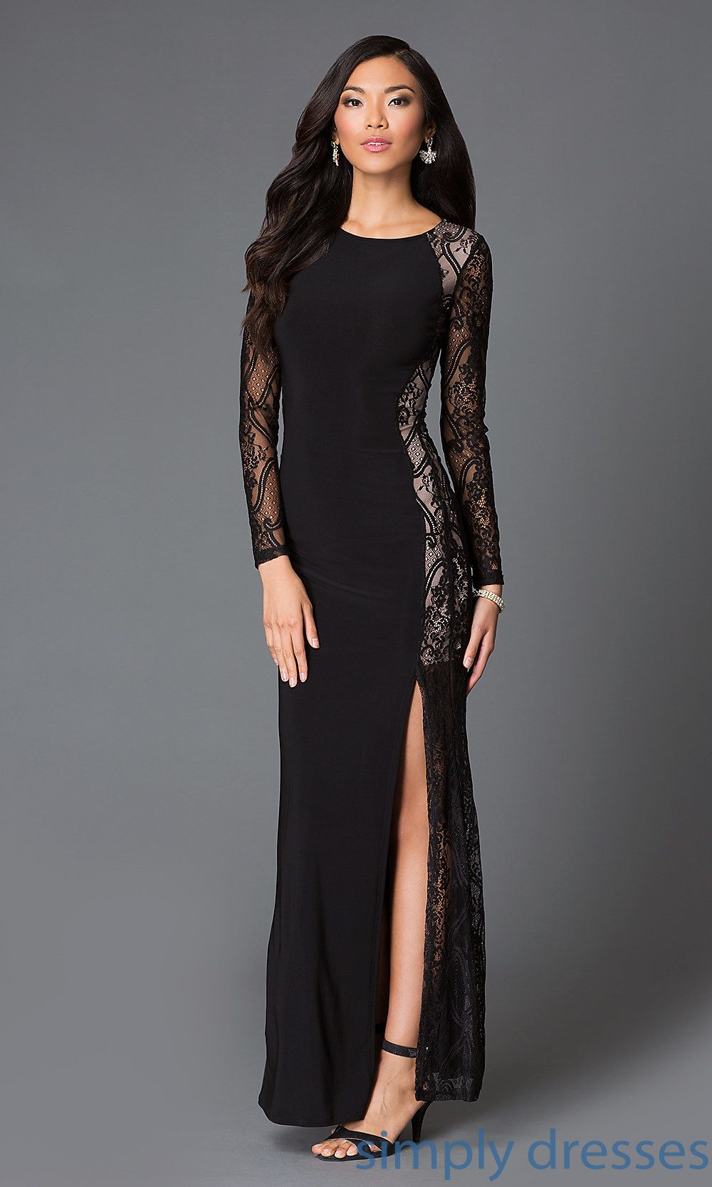 Black Lace Embellished Long Sleeve Formal Gown Black Formal Gown