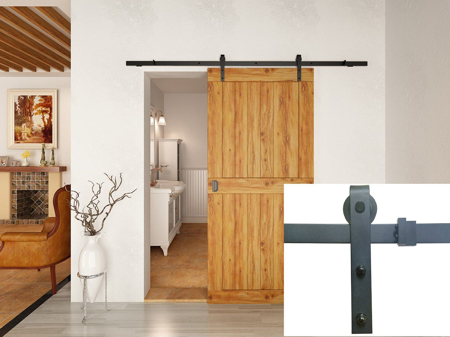 6 Foot Sliding Barn Door Hardware Kit Satin Nickle Tsq08 Doors Gates Commercial Bargains Inc Interior Barn Doors Barn Doors Sliding Barn Door