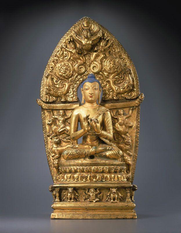 8th-9th century, Kashmir, Shakyamuni, gilt copper and pigments, 17th century gilt copper repoussé back plate, private collection.