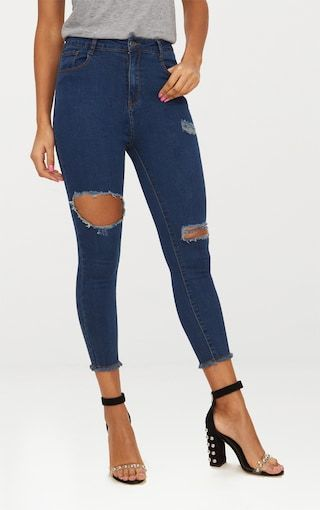 Buy Cheap Cheap PRETTYLITTLETHING Cobalt Rip Knee Skinny Jean Free Shipping Best Wholesale Cheap Very Cheap BHMvOL
