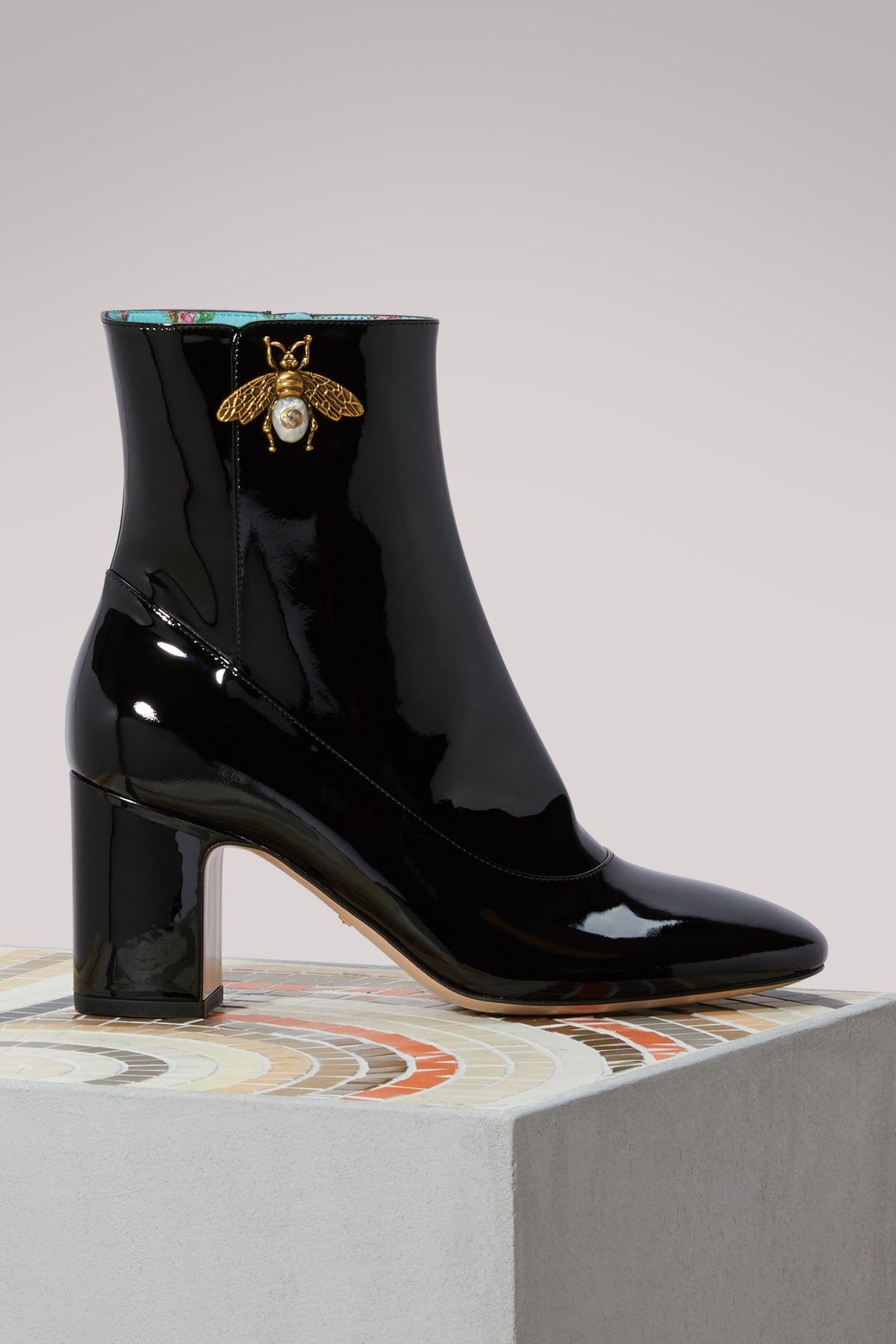 La Chambre Wellington Boots Gucci Patent Leather Ankle Boot With Bee Gucci Shoes Gucci