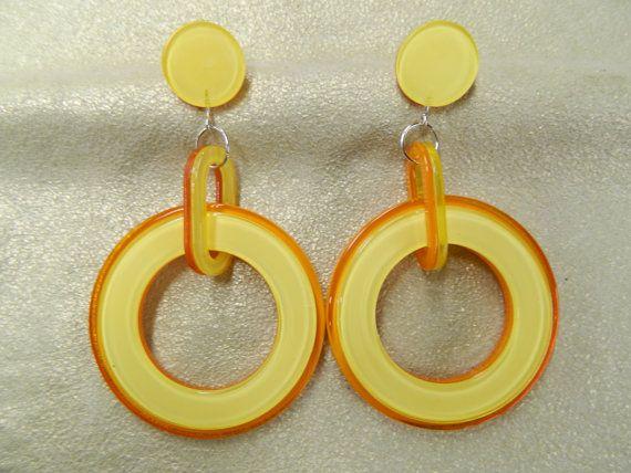 Vintage yellow lucite hoop earrings by aprilsunrises on Etsy