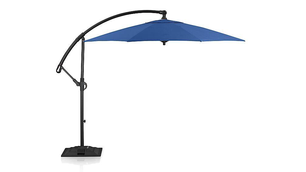 10 Round Sunbrella Mediterranean Blue Cantilever Patio Umbrella With Base In Patio Umbrellas Patio Cantilever Patio Umbrella Patio Umbrellas
