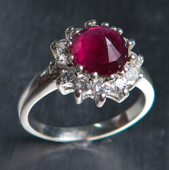 1.90cts Natural Pigeon blood red Ruby & white topaz 925 by EVGAD