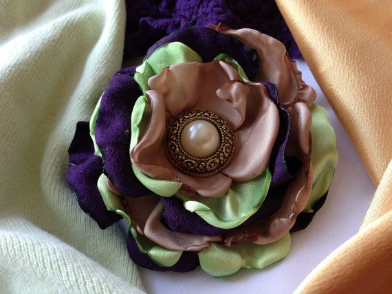 Purple Lime Green and Tan Fabric Floral by ChristyHairCreations